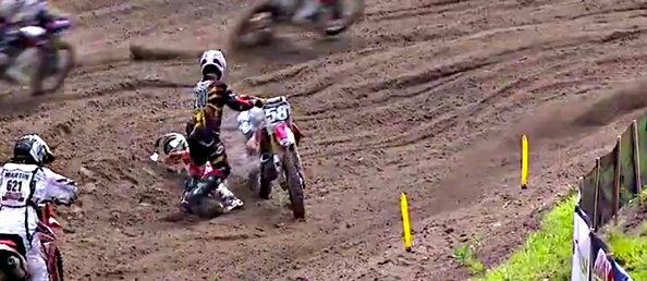 Mike McDade Pulls Wil Hahn's Bike Off Him