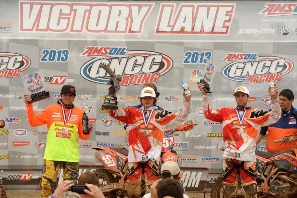 XC1 Podium: (left) DuVall, (center) Russell, (right) Mullins Photo: Ken Hill / GNCC