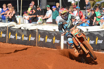 Todd Waters storms to the Monster Energy MX1 victory at Murray Bridge. Image: Jeff Crow/Sport the Library.