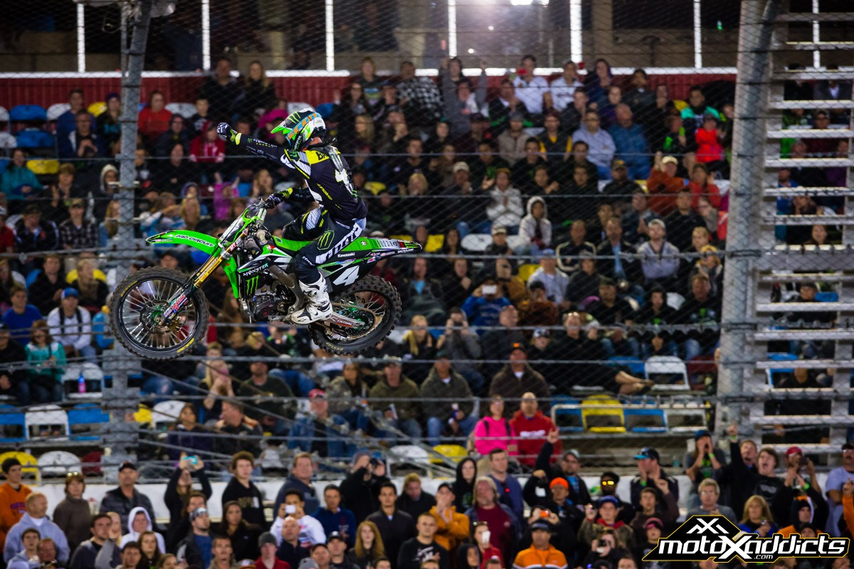 Blake Baggett celebrates his first SX win of 2014. Photo by: Hoppenworld
