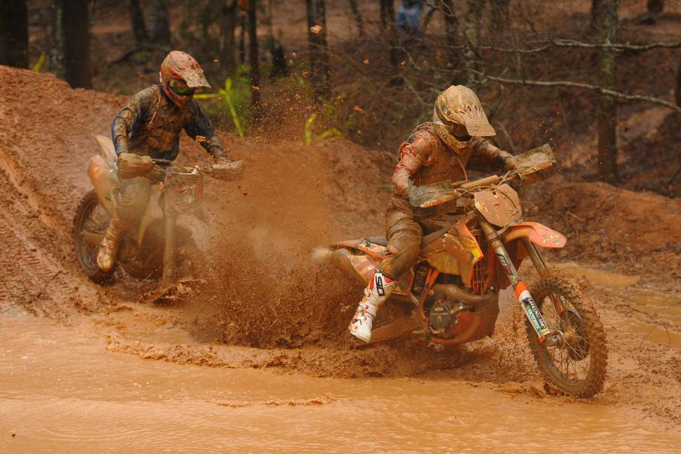(left) Josh Strang and Charlie Mullins (right) had one of many battles out there today Photo: Ken Hill
