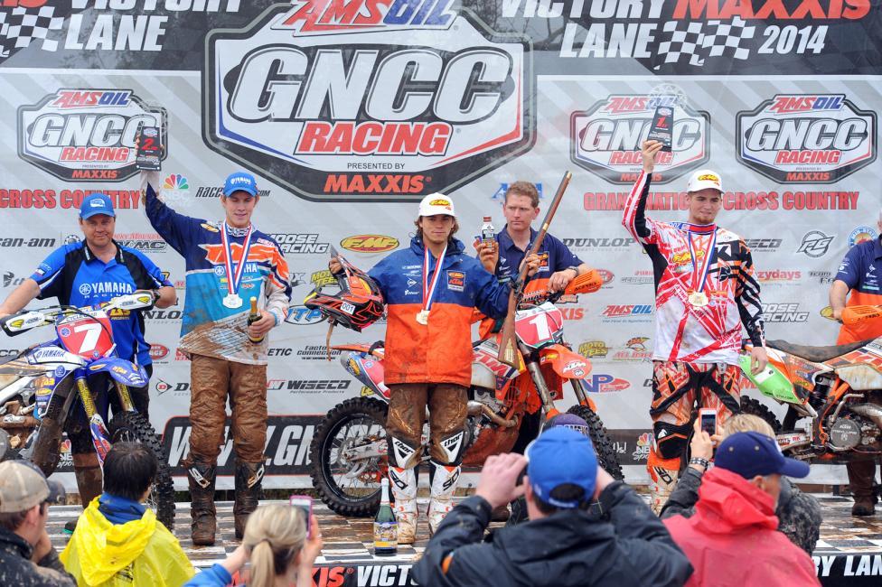 Overall podium: (left) Jordan Ashburn, Kailub Russell, (right) Grant Baylor Photo: Ken HIll