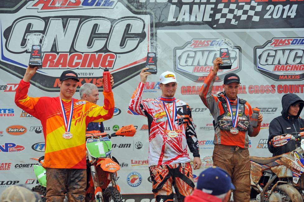 XC2 podium: (left) Trevor Bollinger, Grant Baylor, (right) Rory Mead