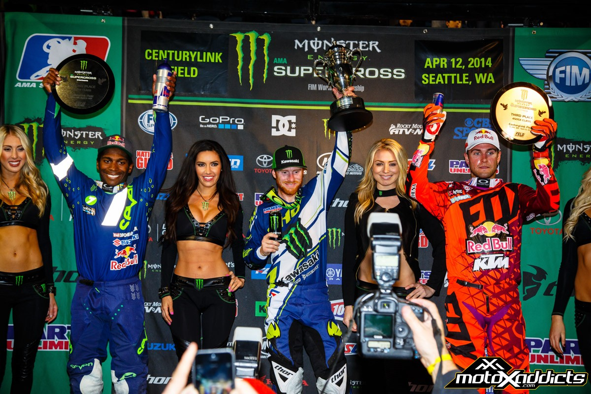 450SX Podium - Ryan Villopoto (center) James Stewart (left) Ryan Dungey (right) Photo by: Hoppenworld
