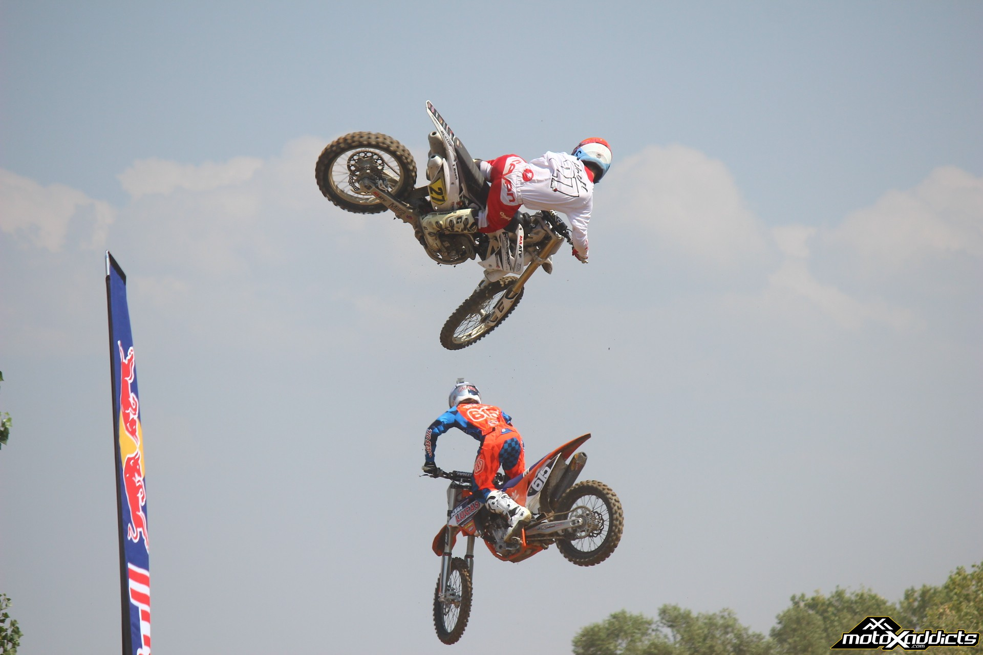 The Hoeft Brothers - Justin (615) and Tyler (27) at Milestone's Red Bull Straight Rhythm warm up. Photo by: Devin Davis