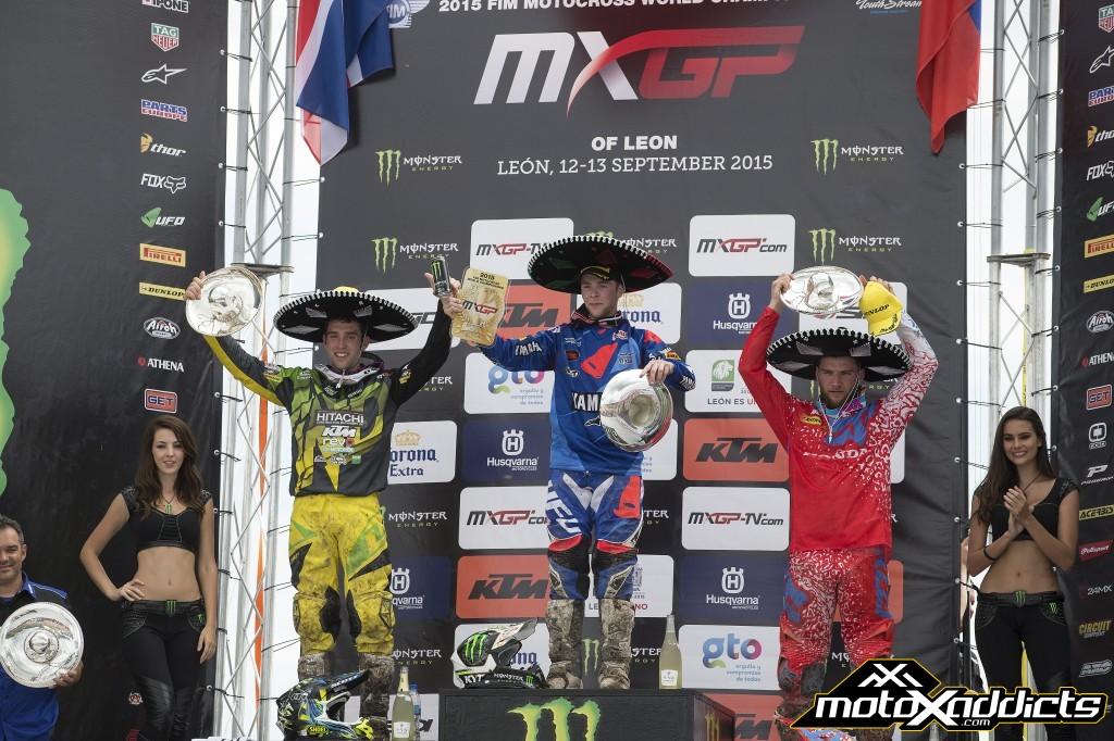 MXGP class overall podium. Romain Febvre (center)  Shaun Simpson (left)  Evgeny Bobryshev (right)