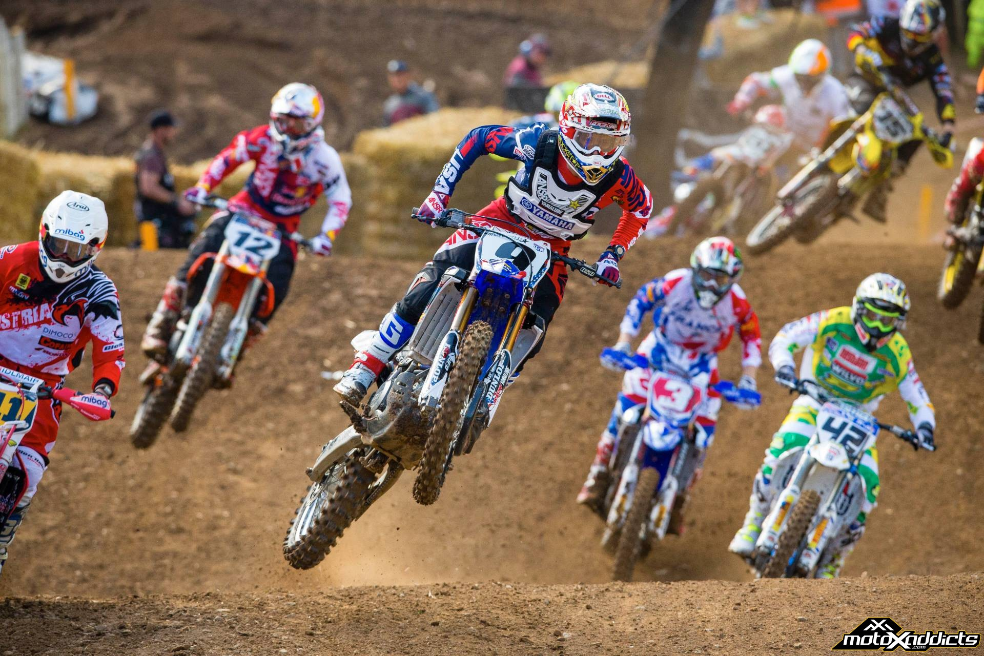 Cooper yanked the holeshot from the outside gate pick in moto 2.