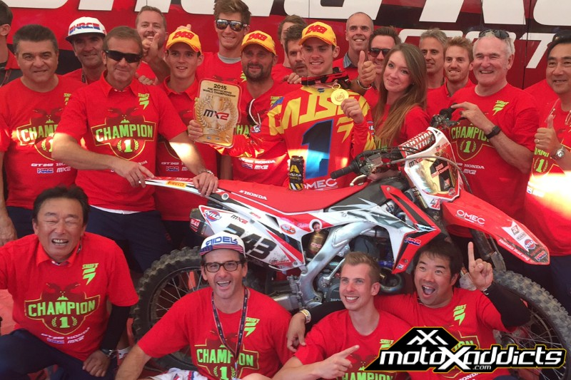 Tim Gasjer celebrates his MX2 World Championship with the team. Photo by: MotoXAddicts.com