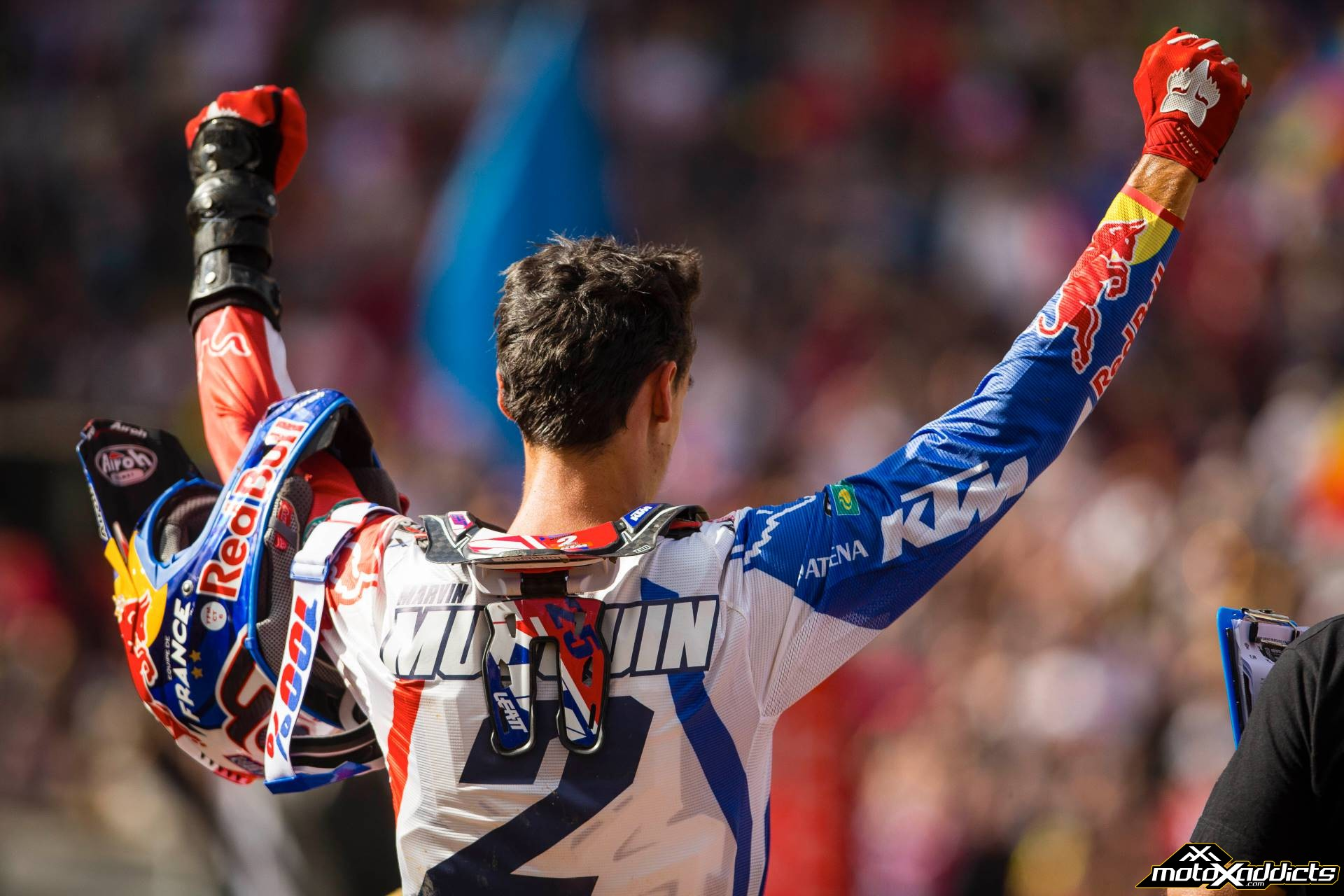 Marvin was on top of the world at the 2015 Motocross of Nations.  Photo by: Hoppenworld