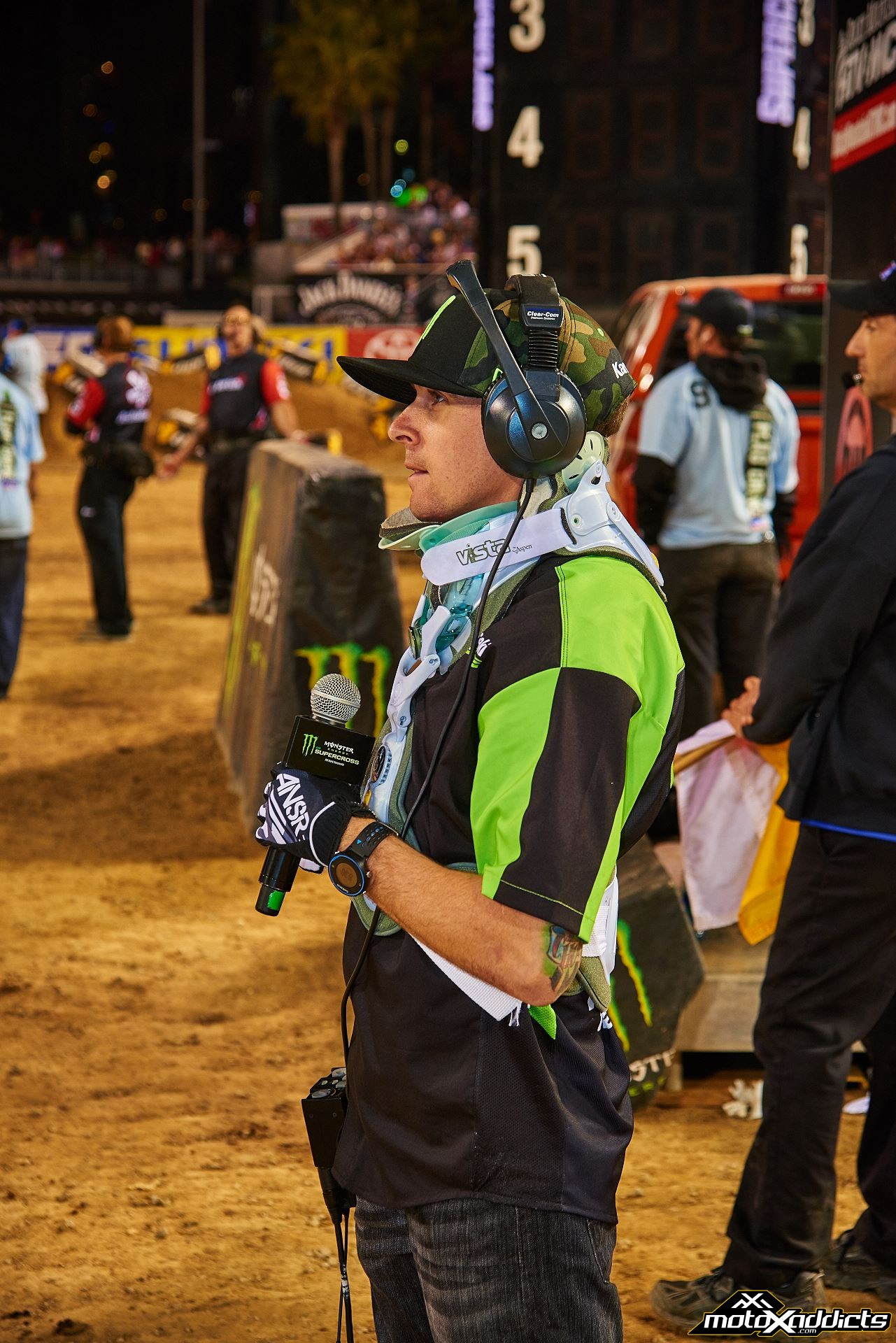 Even with his massive injuries at the opener, Wil participated in the Monster Energy Supercross series as a floor reporter for FELD. Photo by: Hoppenworld