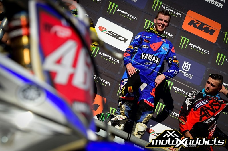 Cooper (right) looked visibly mad after moto 2. The look you see on his face here was the same as he entered the press conference. Photo by: Yamaha Racing