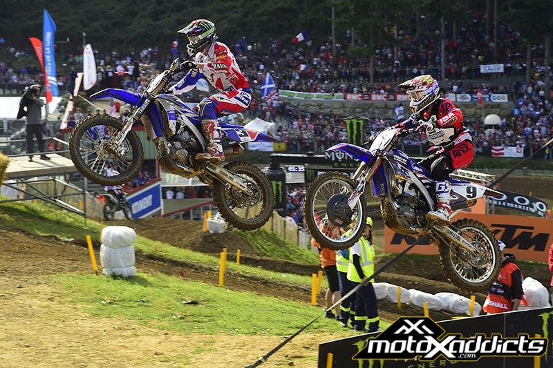 Romain Febvre #3 and Cooper Webb #9 picked up right where they left off at the USGP. Febvre took the win for France, with Webb finishing a close 2nd for USA> Photo by: MXGP.com