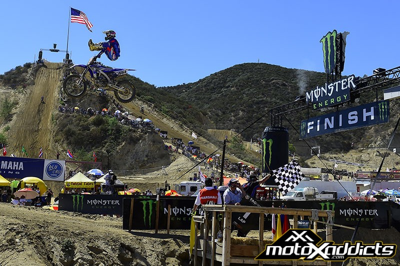 Romain Febvre came from behind to catch and pass Cooper Webb in moto 1. Photo by: MXGP.com