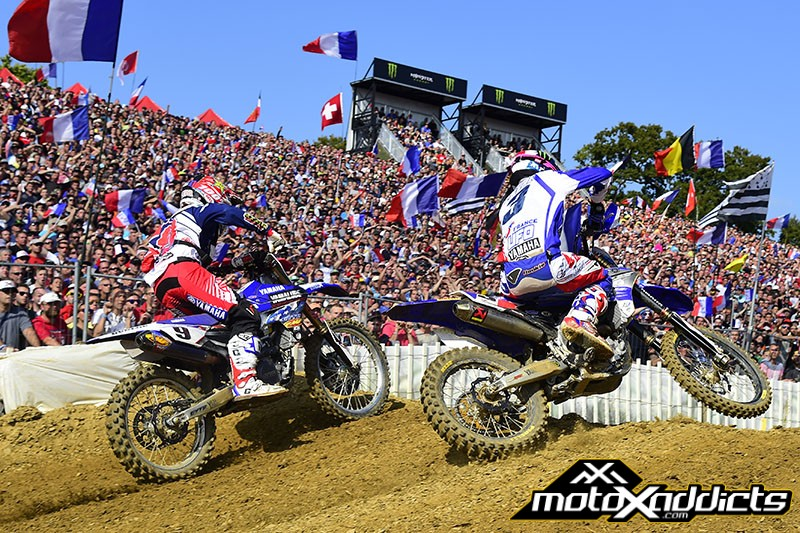 Romain Febvre (lead)  and Cooper Webb (behind) put on a show in moto two that few will soon forget. In the end, Romain once again got the better of the fight.