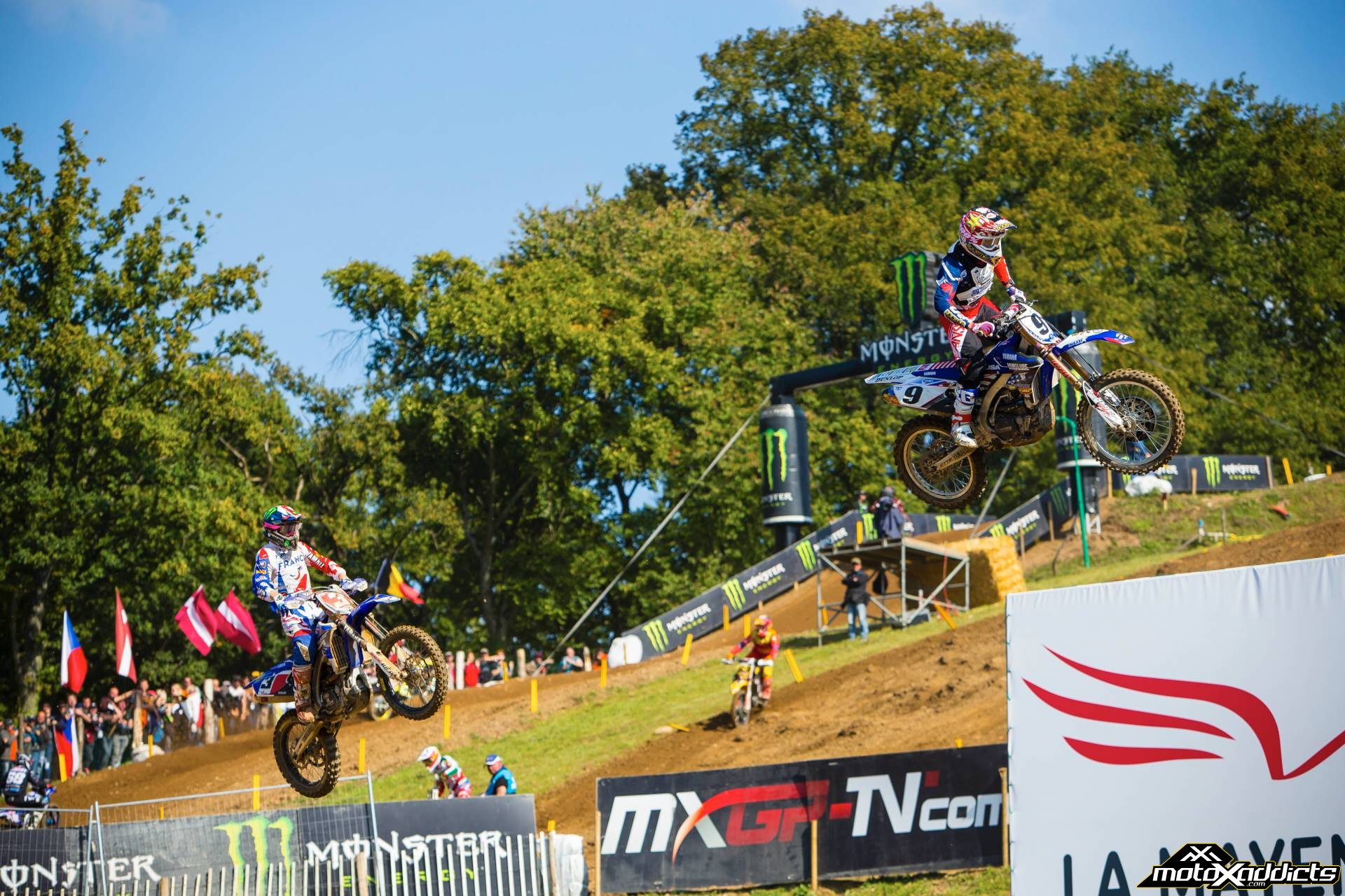 Cooper Webb led much of moto 2 before getting caught and passed by Team France's Romain Febvre.