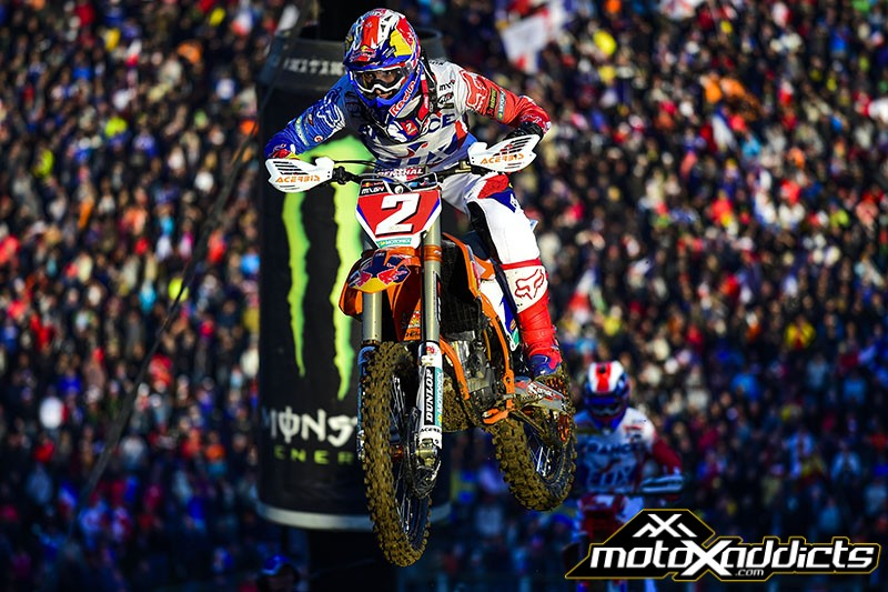 Marvin Musquin caught Barcia and made the pass for the lead, but Barcia was able to regain the lead. While Musquin was not able to win the moto, he was a huge part of France's win and the overall MX2 winner.