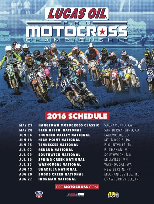 2016 Lucas Oil Pro Motocross Championship Schedule Announced