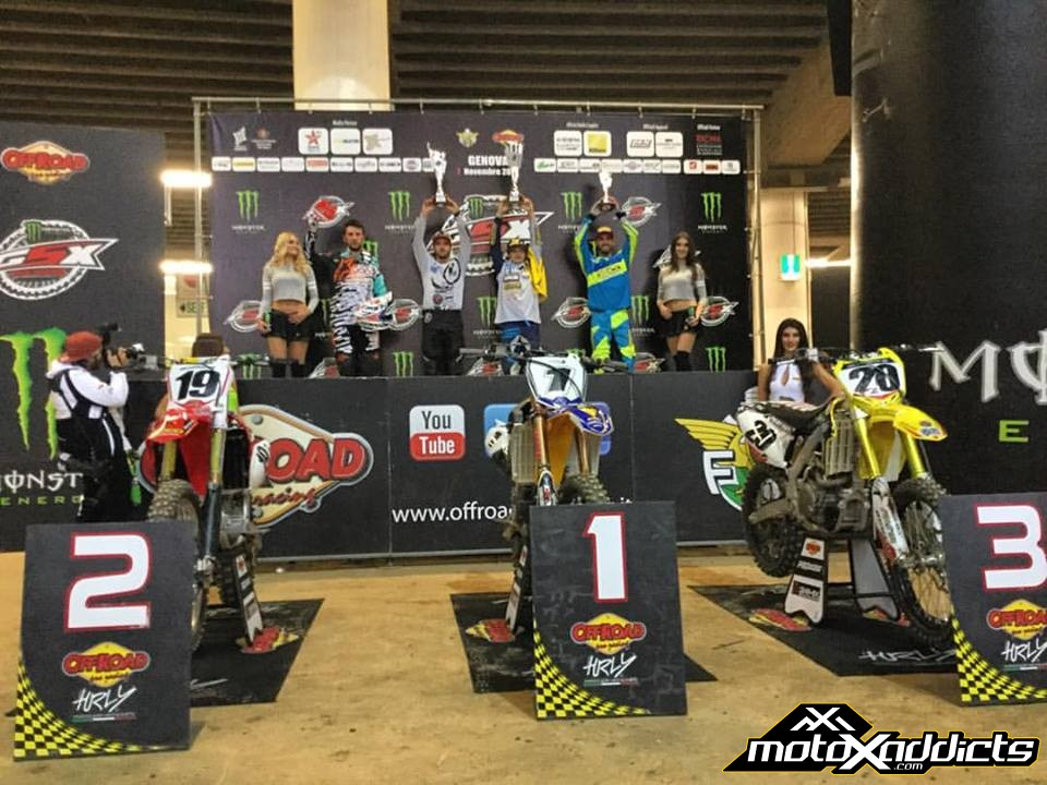 Webb, Brayton & Hsu Celebrate at 2015 Genova Supercross