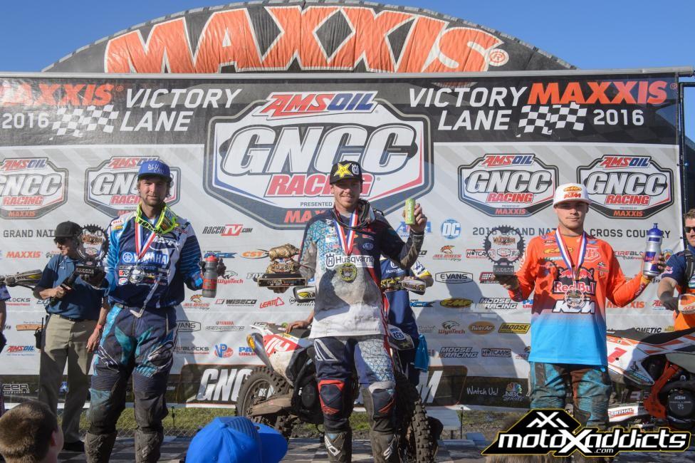 XC1 Podium: (2) Daniel Milner, (1) Josh Strang, (3) Kailub Russell. Photo: Ken Hill