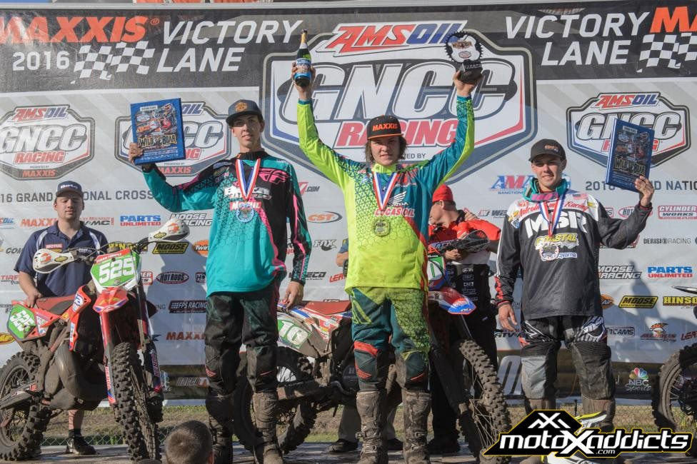 XC2 Pro Lites Podium: (2), Tegan Temple, (1) Trevor Bollinger, (3) Craig Delong. Photo: Ken Hill