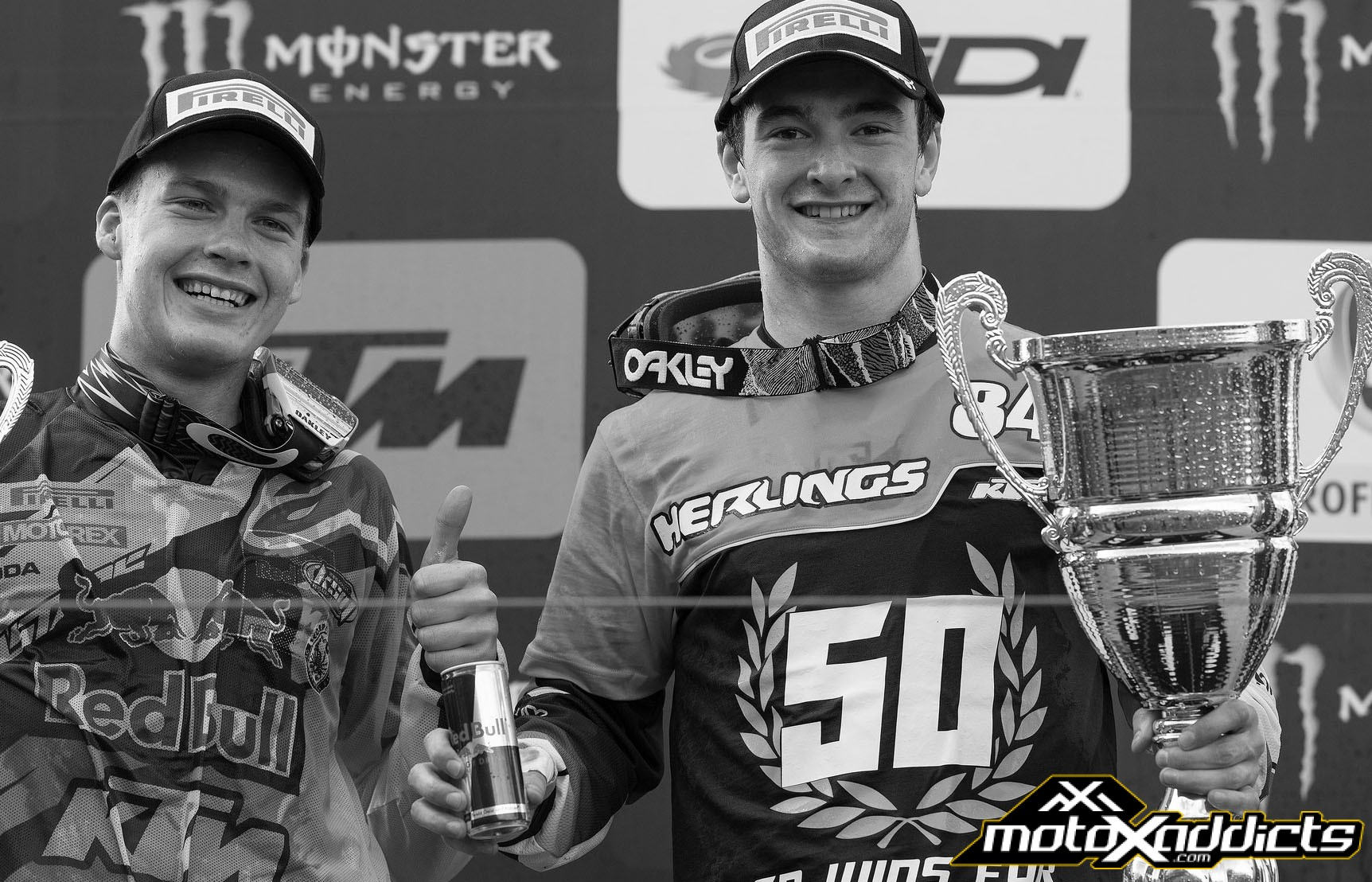 Jeffrey (right) and Pauls Jonass (left) gave KTM a 1-2 finish at Valkenswaard.