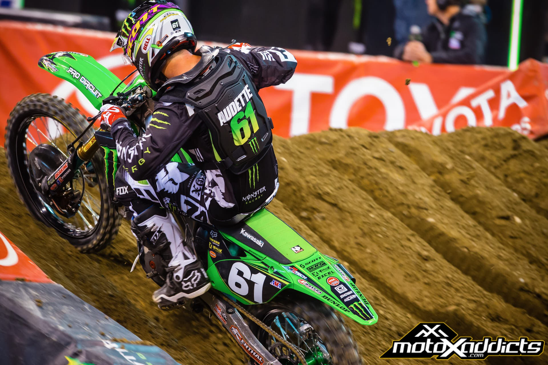 Gannon Audette (filling in at Pro Circuit for the injured Arnaud Tonus) was only the 7th fastest 250SX rider, but consistency netted him his first-ever podium. Photo by: Hoppenworld.