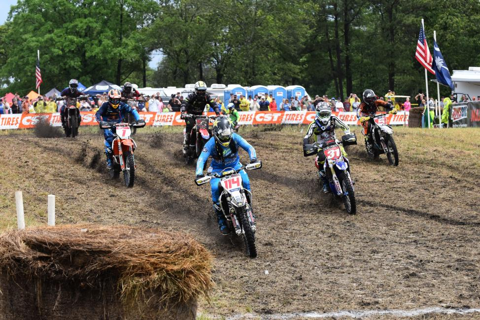 Josh Strang got out to the early lead claiming the $250 All Balls Racing Holeshot Award. Photo: Ken Hill