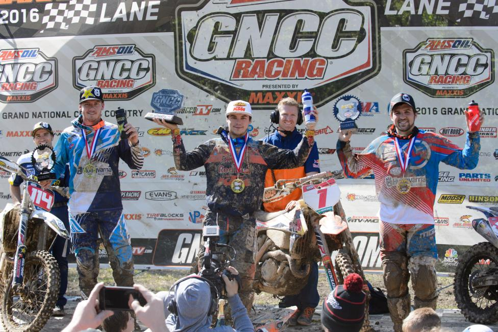Overall Podium: (2) Josh Strang, (1) Kailub Russell, (3) Thad Duvall.Photo: Ken Hill