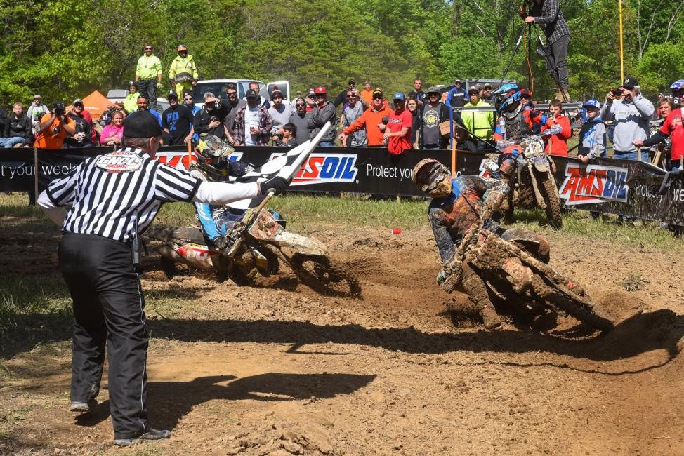 Kailub Russell and Josh Strang were wheel-to-wheel at the finish.Photo: Ken Hill