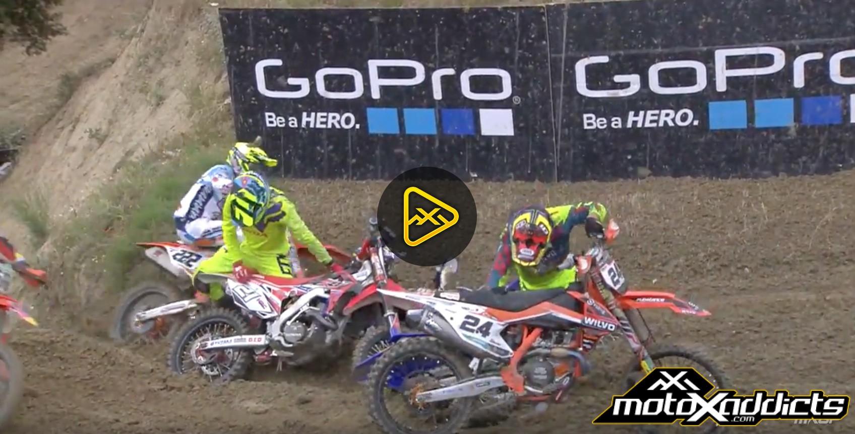 Simpson, Febvre, Paulin & Cairoli Crash at 2016 MXGP of Spain