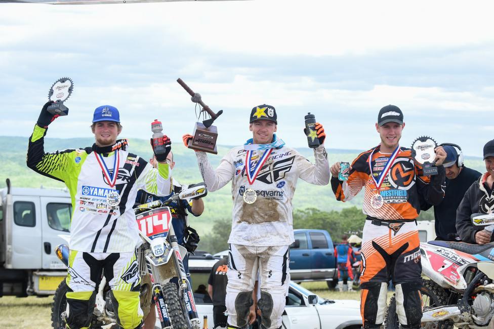 Overall Podium: (2) Grant Baylor, (1) Josh Strang, (3) Jordan Ashburn. Photo: Ken Hill