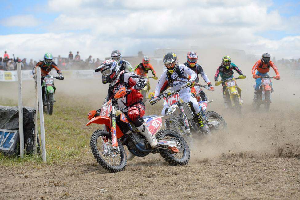 Cory Buttrick jumped out to the early lead claiming the $250 All Balls Racing Holeshot Award. Photo: Ken Hill