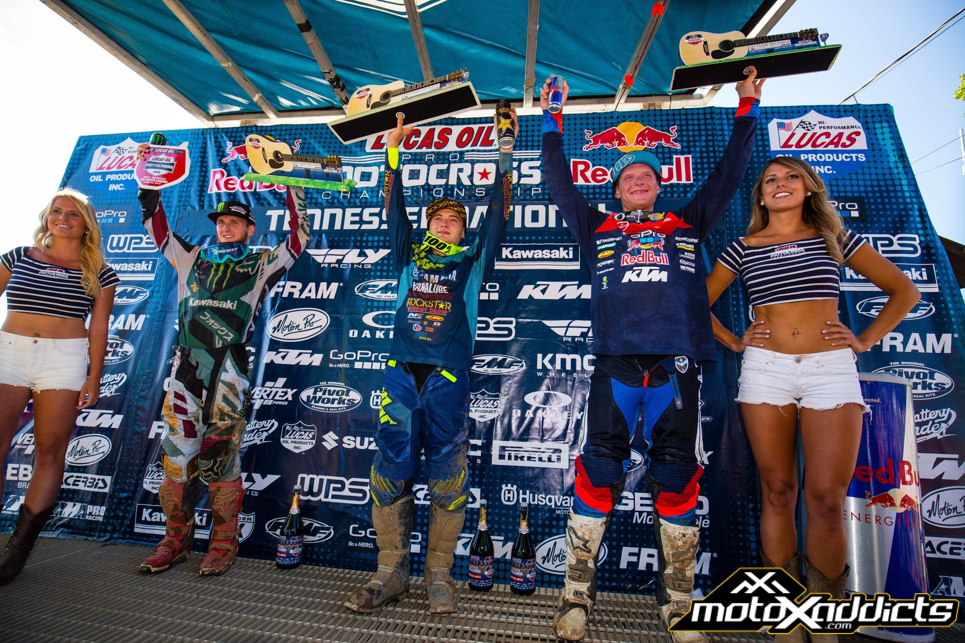 250MX Overall podium at the 2016 Tennessee National. Cooper Webb (center), Joey Savatgy (left), Shane McElrath (right).