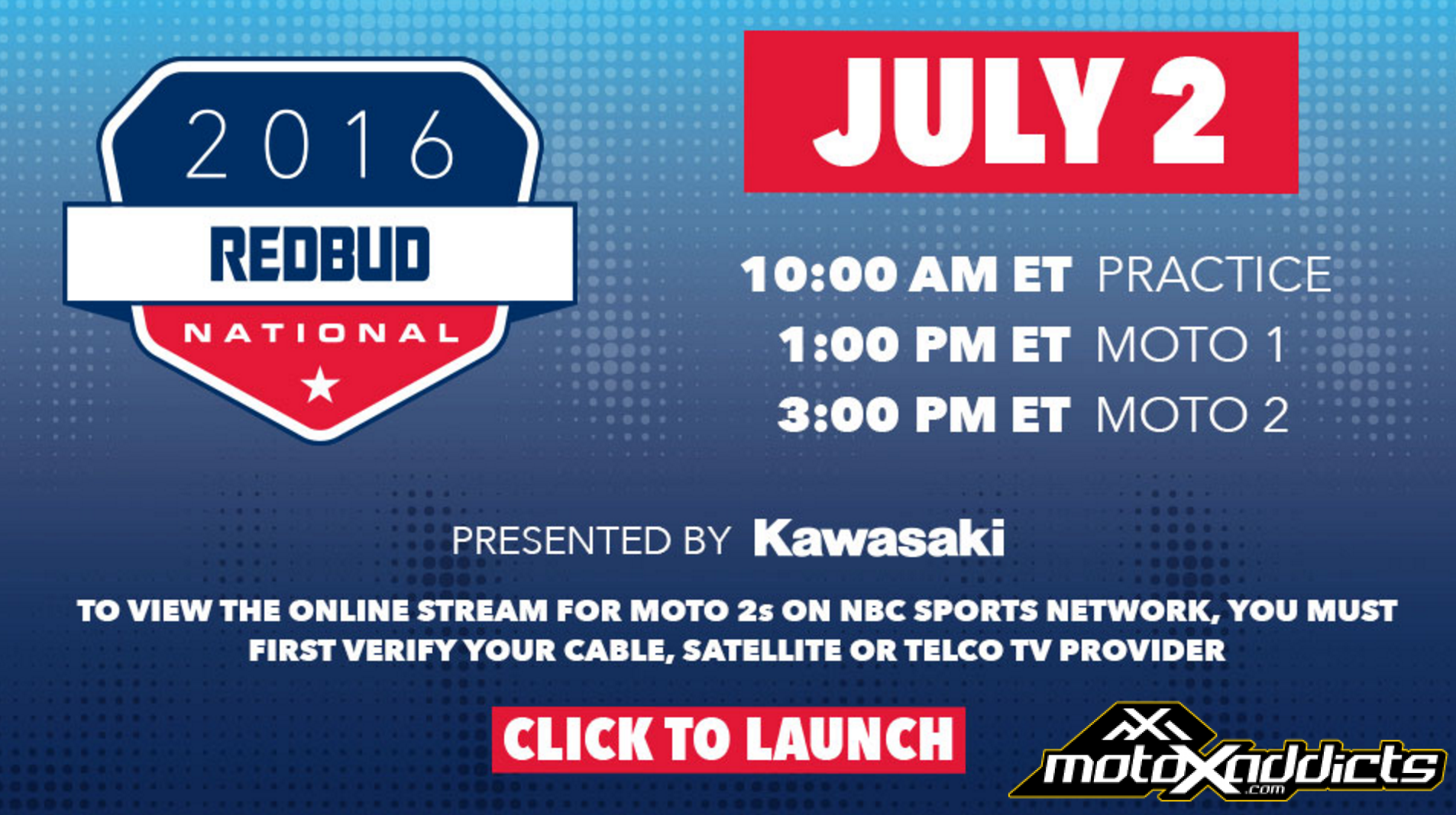 2016 RedBud National TV and Internet Broadcast Schedule