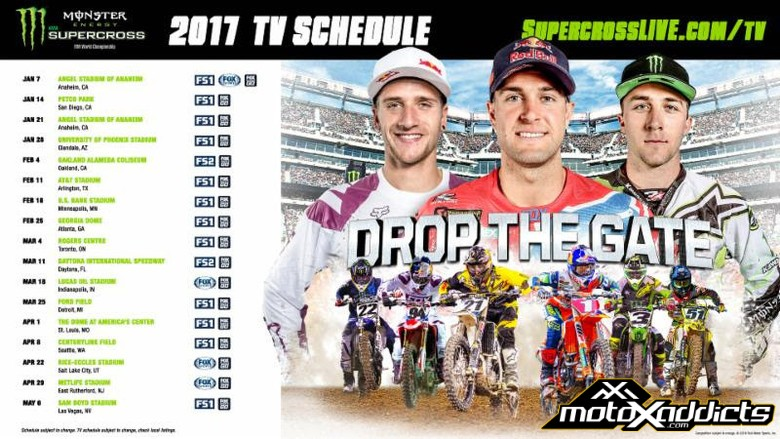 TV Schedule for 2017 Monster Energy Supercross