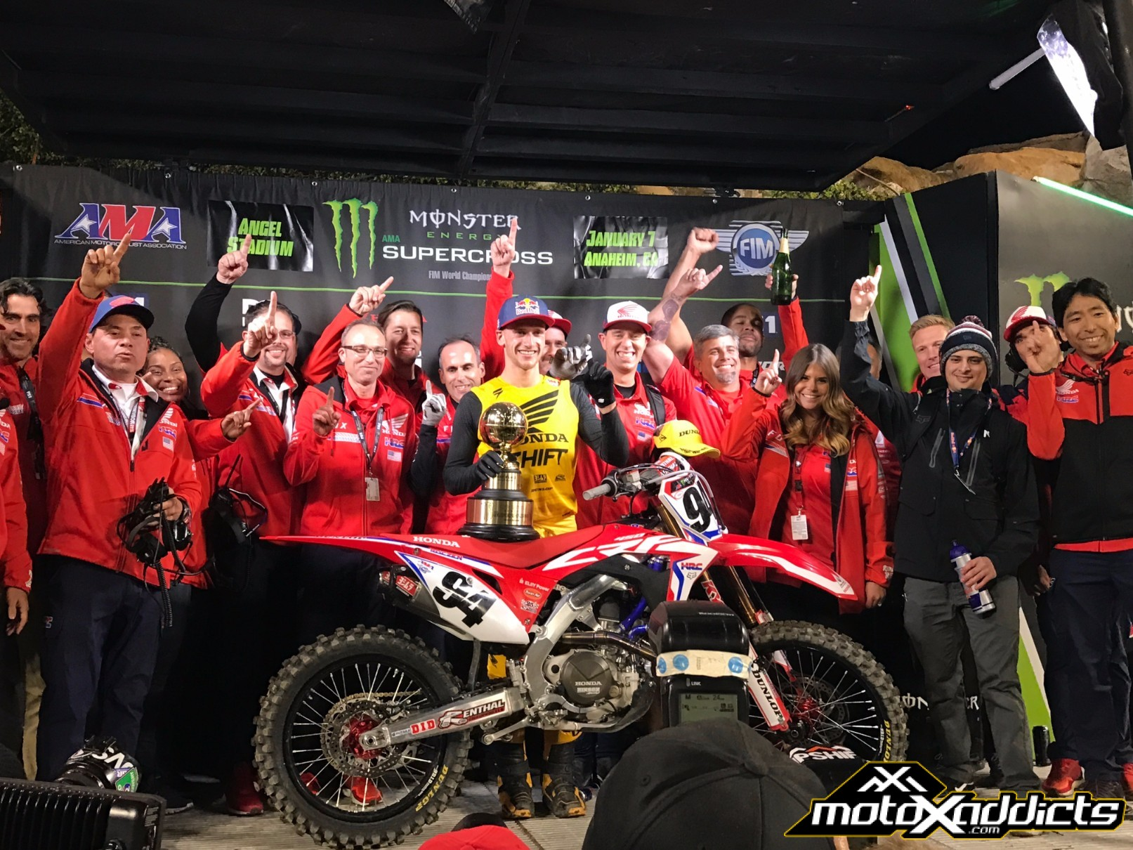 Kenny and HRC / Honda celebrated the beginning of what they hope will be the first of many SX wins and Championships together. Photo: Dan Lamb
