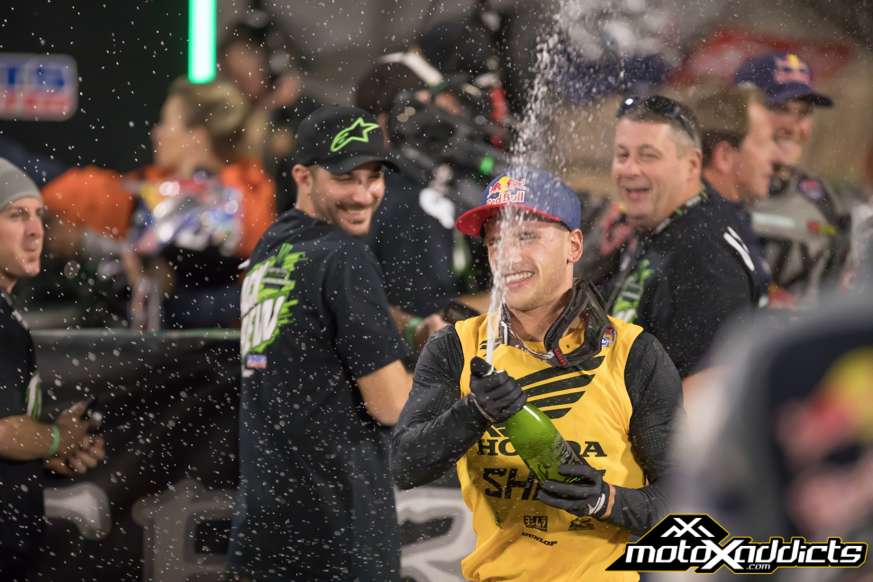 It's been a long offseason, but nobody forgot how to get the cork out of the champagne. Photo by: Chase Yocom