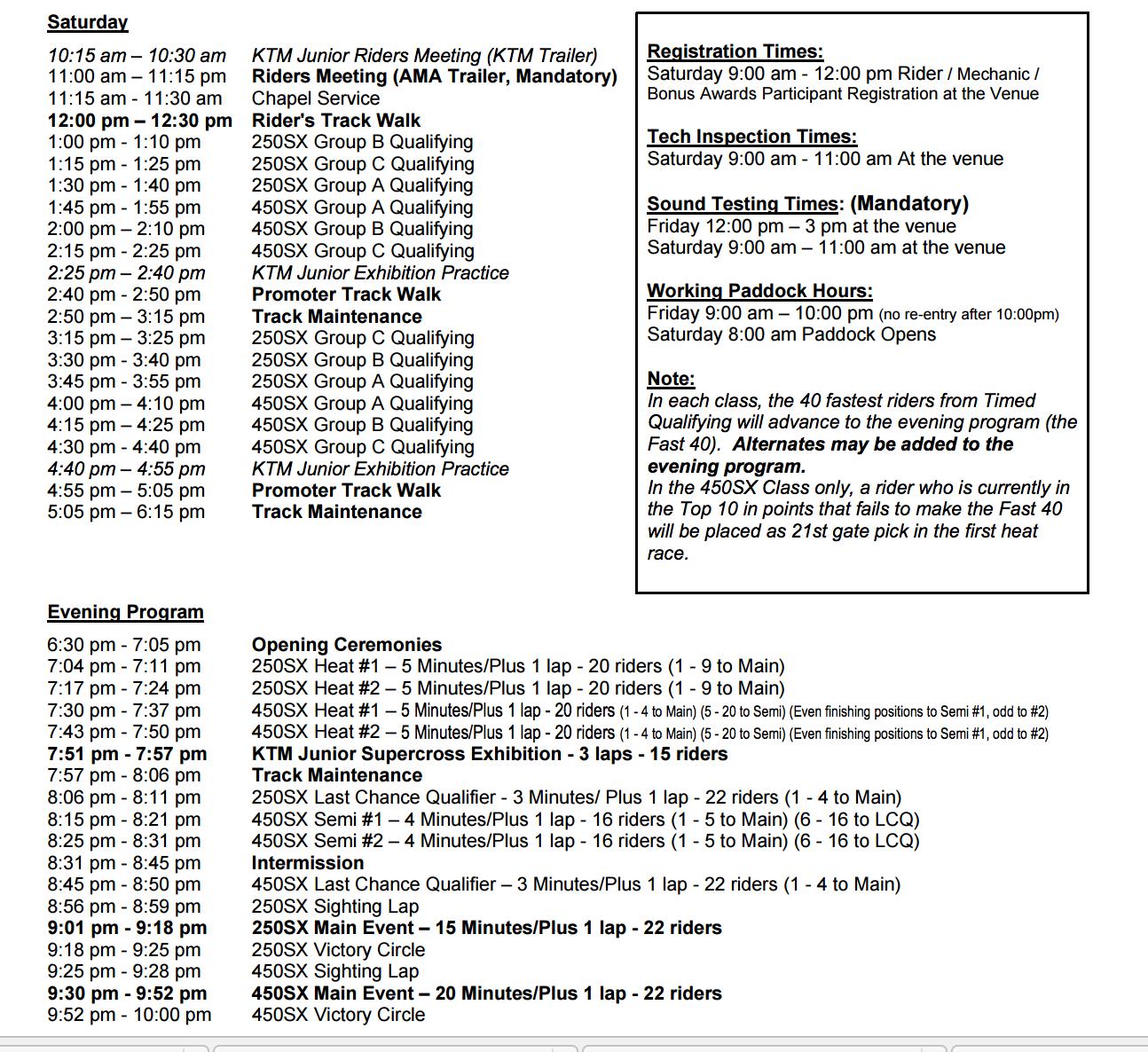 Schedule for 2017 San Diego SX