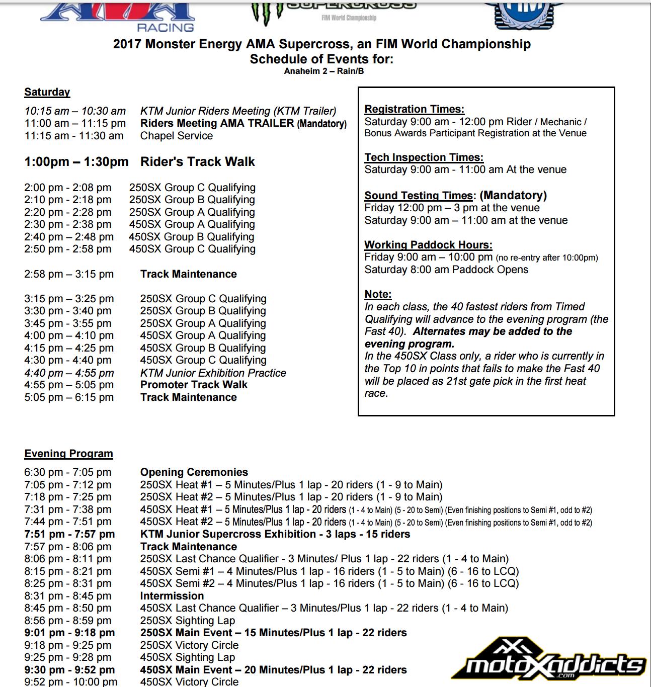 Rain Delay Schedule for Anaheim 2 SX