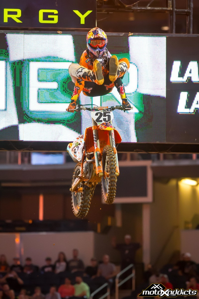 Marvin Musquin was the man on Saturday night, but will this be the boost he needs to close in on his teammate in the Championship. Photo by: Simon Cudby