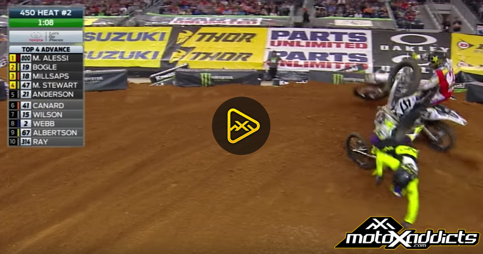 Malcolm Stewart and Jason Anderson Crash – 2017 Arlington SX