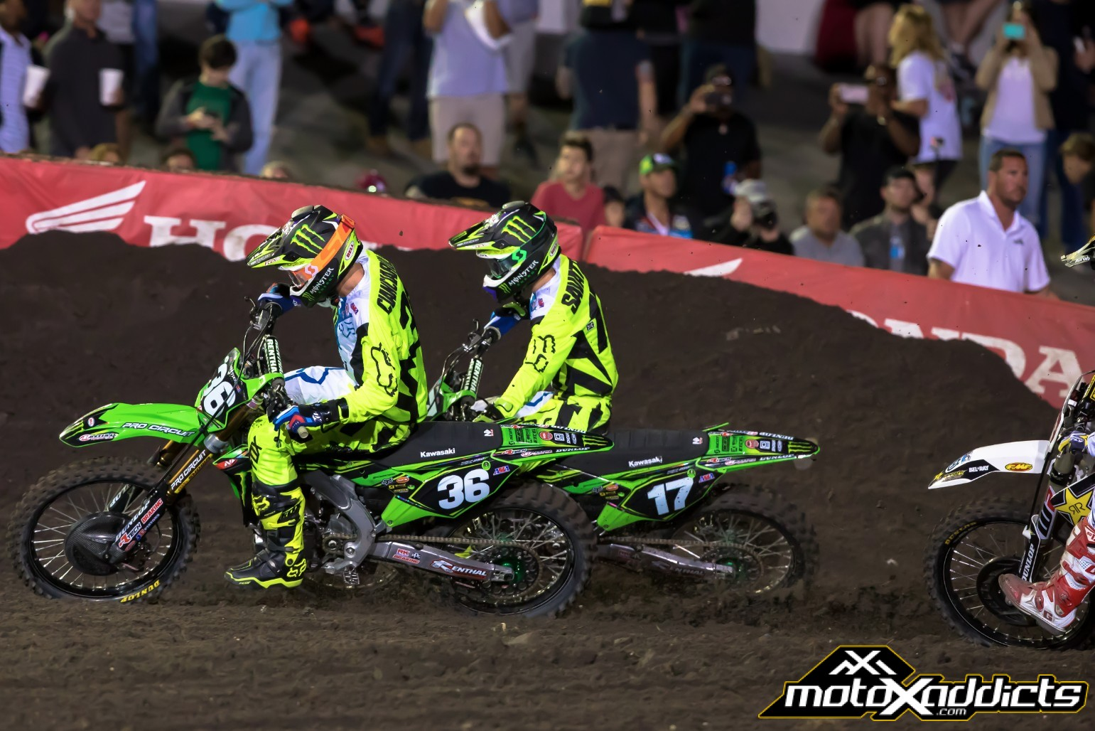 Teammates Adam Cianciarulo (#36) and Joey Savatgy (#17)  started this close and were not much further from each other at the finish.