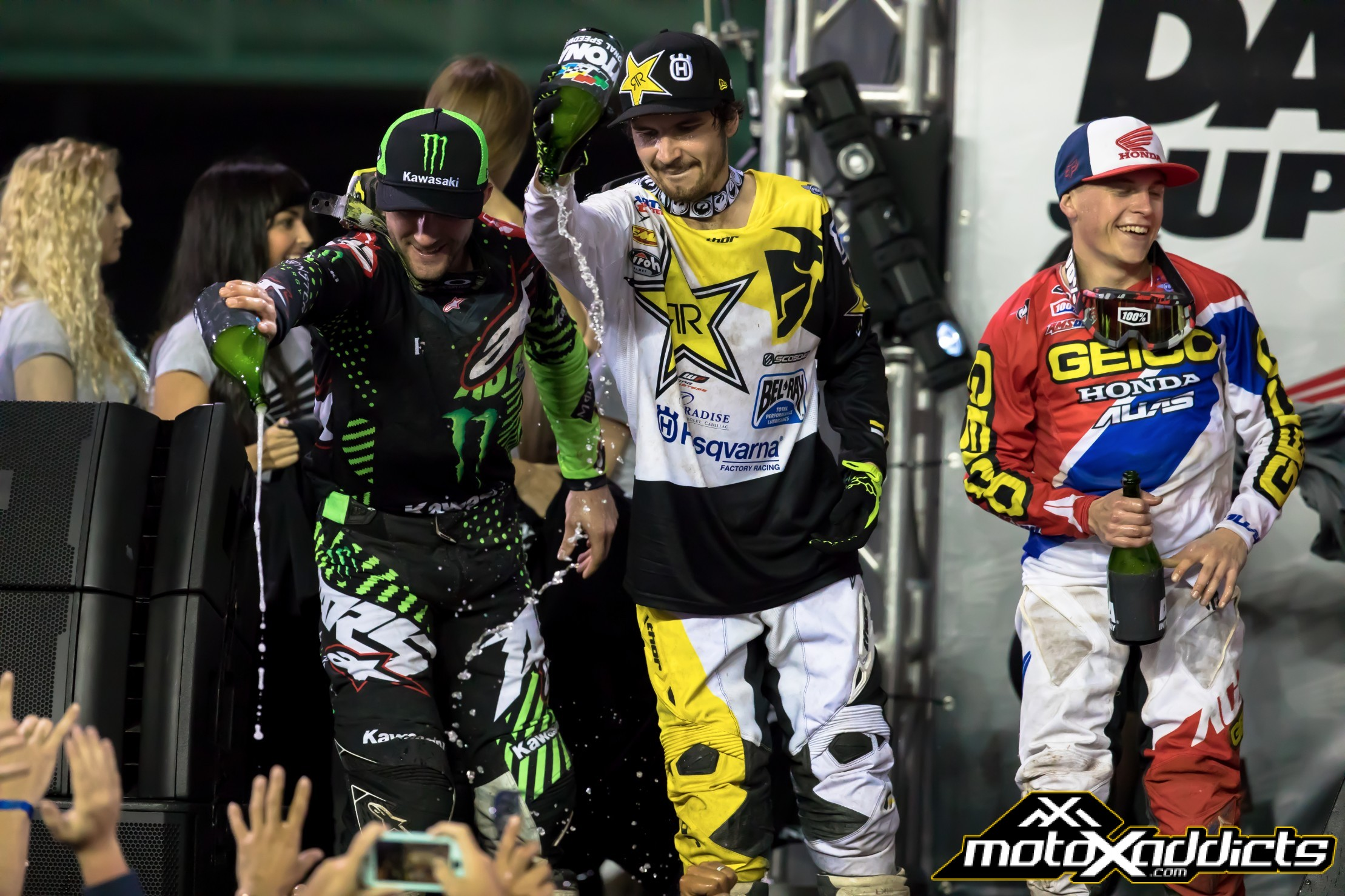 The 450SX podium from the 2017 Daytona SX. 1st: Eli Tomac (left)  2nd: Jeremy Martin (right)  3rd: Jason Anderson (center)