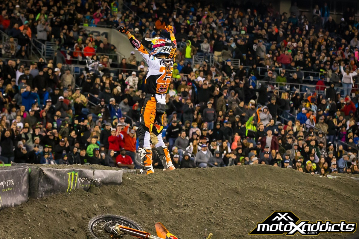 Marvin celebrates his win after crashing on his victory lap in Seattle. Photo: KTM