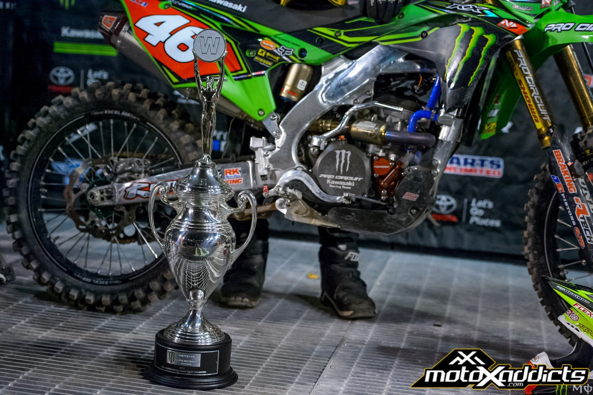 Hill took home one of the most prestigious trophies in dirt bike racing. Photo: Ryne Swanberg