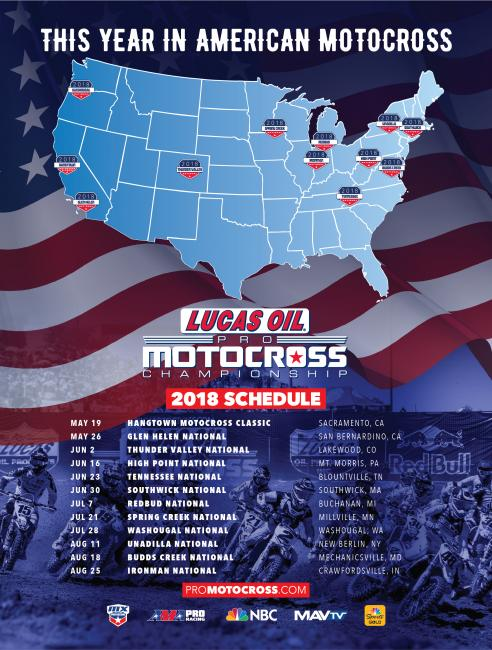 2018 Lucas Oil Pro Motocross Championship Schedule
