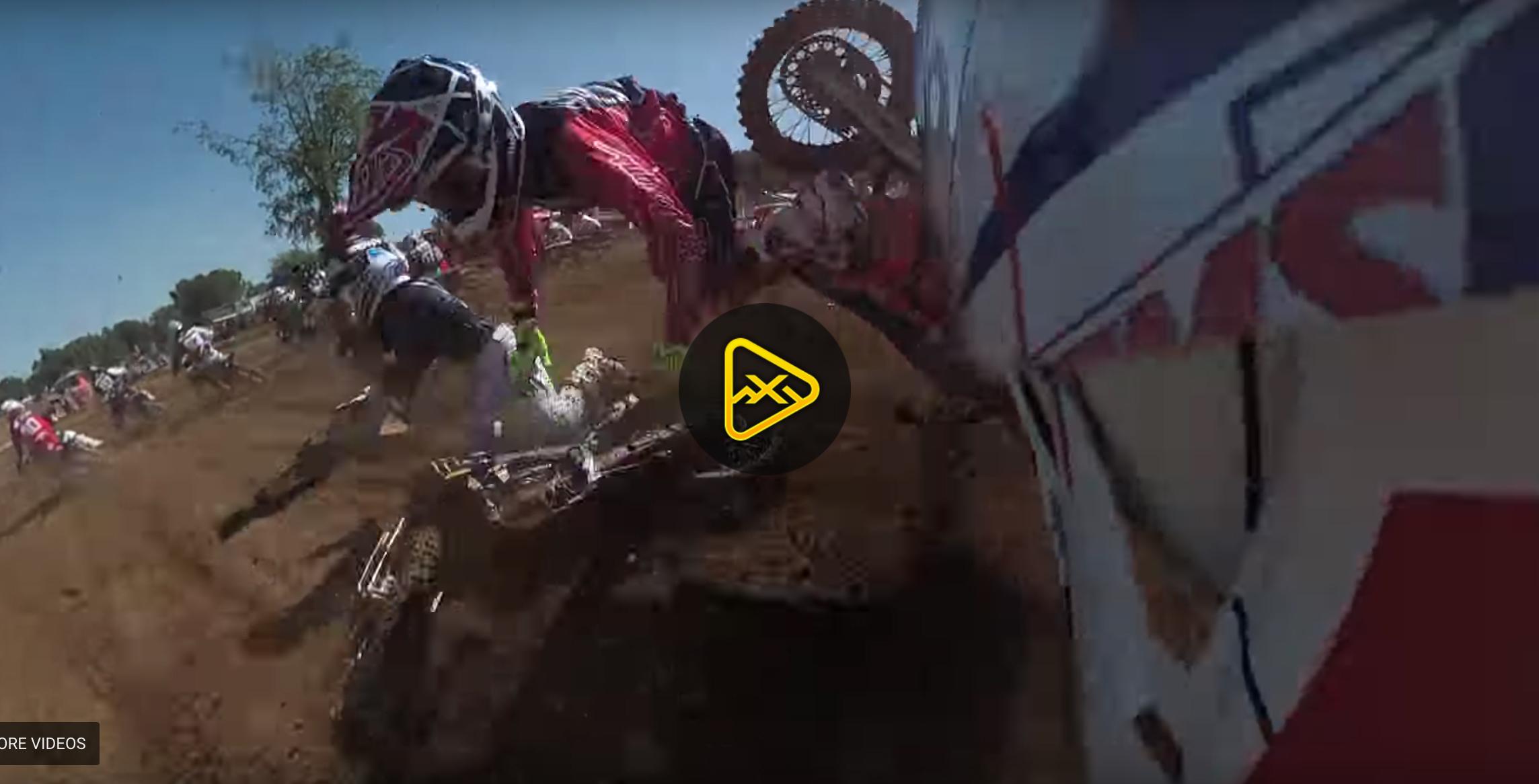 Helmet Cam: Hamshire, McElrath, Cantrell, Nichols First Turn Crash
