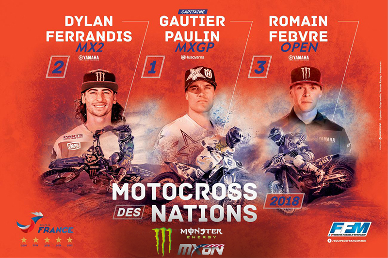 Paulin, Ferrandis, and Febvre Chosen for Team France