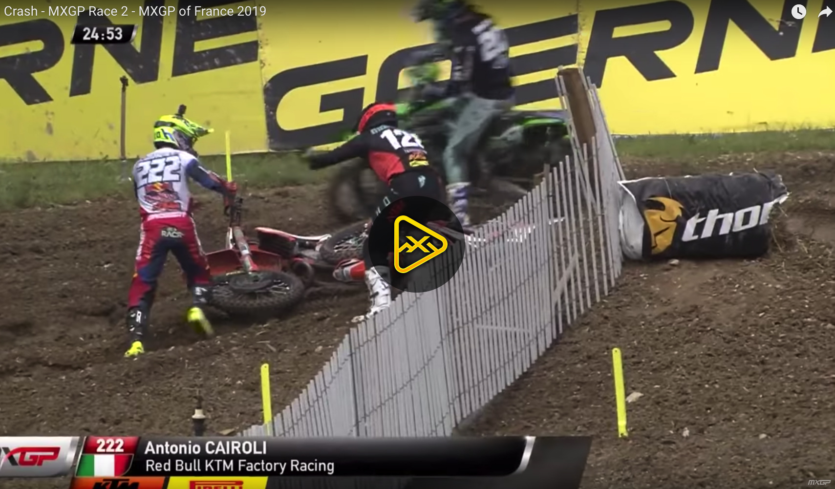 Antonio Cairoli Crash at MXGP of France